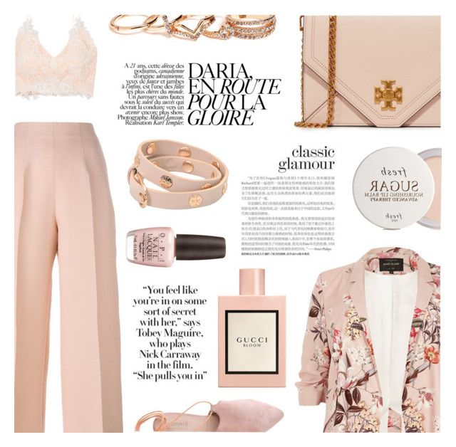 """""""Dime tu fantasias"""" by sugaplump ❤ liked on Polyvore featuring Rime Arodaky, Fendi, River Island, Tory Burch, Summit, GUESS, Gucci, OPI, Fresh and bustier"""