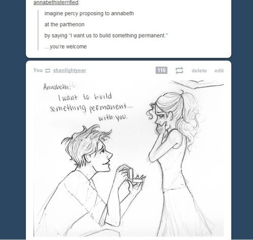 "I don't ship it, but this is adorable.<<< HOW THE HECK DOES SOMEBODY NOT SHIP PERCABETH IT""S CANON AND ITS PERFECTION AND OMG WHY WHAT DID THEY EVER DO TO YOU YOU BETTER NOT SHIP PERACHEL YOU DIRTY TWIGHLIGHT LOVER DISHONOR ON YOU DISHONOR ON YOUR COW << repinning for that lol"