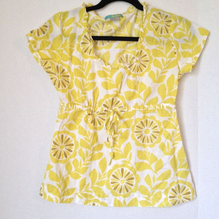 Boden short sleeve yellow white scoop neck empire waist for Boden yellow