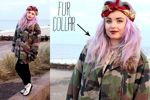 Helen Melonlady, lavender hair, camo, creepers.