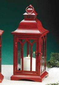 Antique Red Metal Candle Lantern Holder