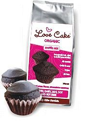 Love Cake Organic Chocolate Muffin mix {free from dairy, egg, gluten, soy and nuts, with egg free baking option}