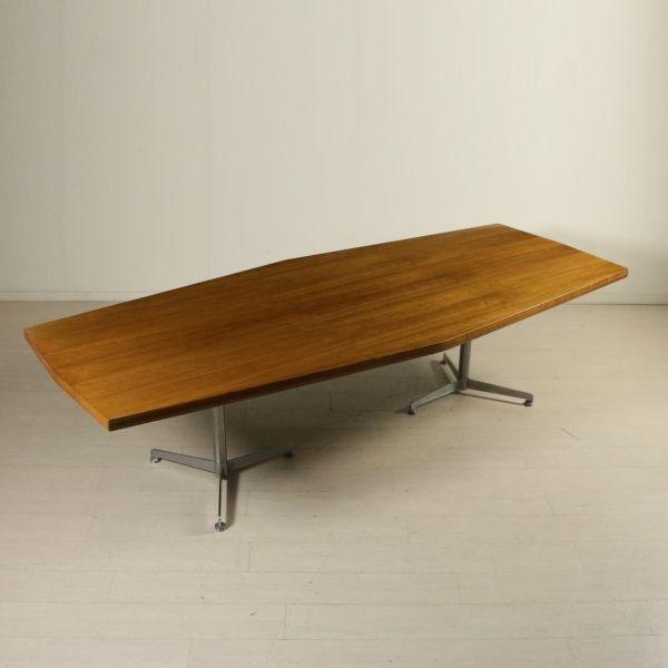 Gambe Per Tavoli In Alluminio.Grande Tavolo Riunioni Legno Impiallacciato Noce Gambe In