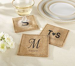 Personalized Burlap Coasters from Kate Aspen
