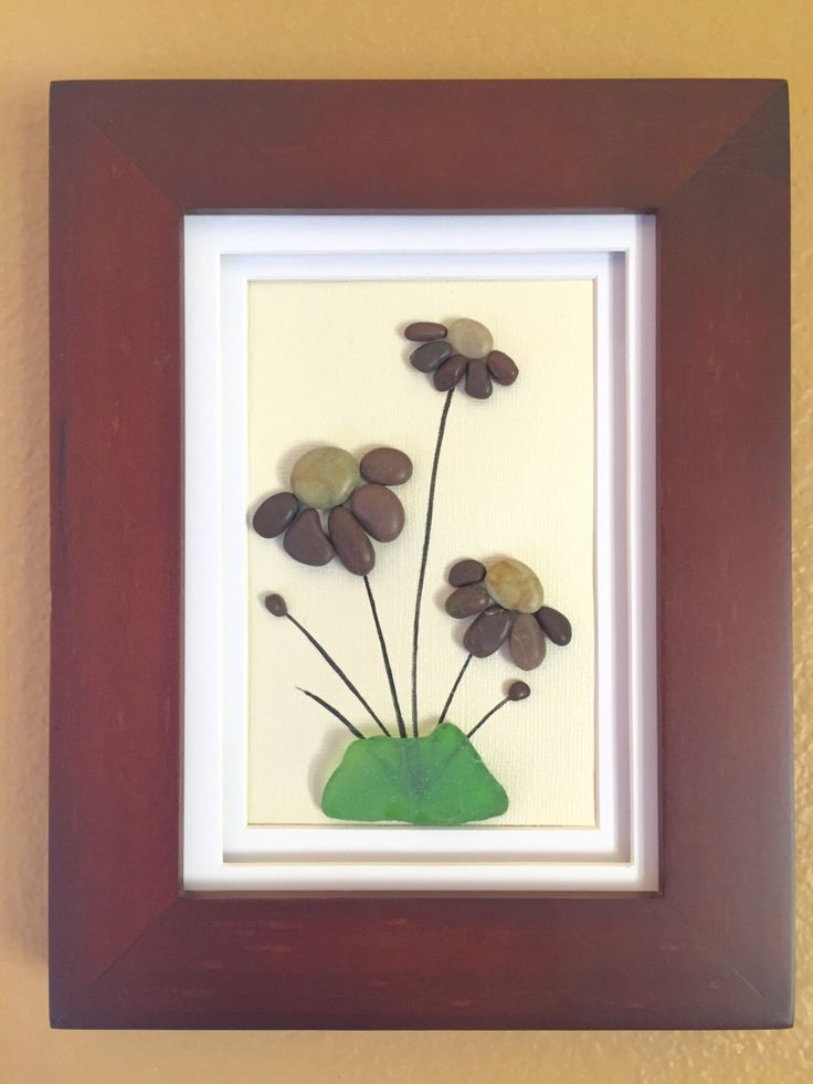Pebble art, sea glass art, beach home decor, wall art