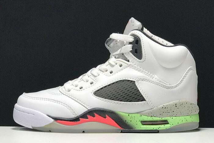 "5c3620dc3863f7 Air Jordan 5 Retro ""Poison Green"" White Infrared 23-Light Poison Green-Black  136027-115"