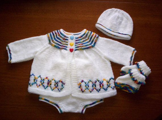Hand Knitted Sweater/Jacket and Pants/ by knittingpretty0115