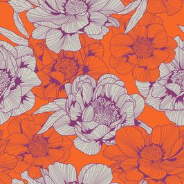 Orange and Purple Peonies by Petroula Tsipitori Seamless Repeat Vector Royalty-Free Stock Pattern