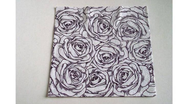 Fehér-barna rózsás szalvéta - KreatívHobbyDekor webáruház