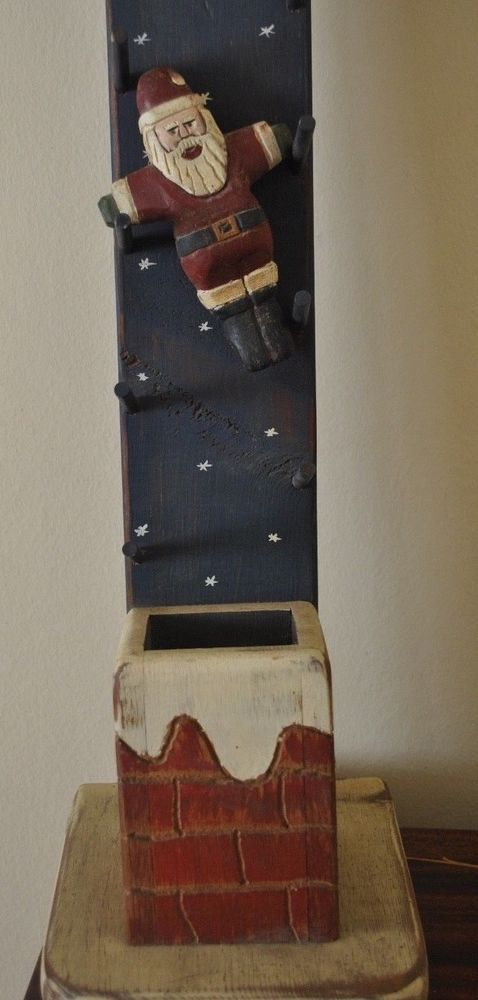 WOLF CREEK Folk Art Santa Claus Down the Chimney Hand Carved Wood Kinetic Toy #WolfCreek #Americana