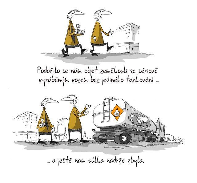Kreslený vtip: Podařilo se nám objet zeměkouli se sériově vyráběným vozem bez jediného tankování ... a ještě nám půlka nádrže zbyla. Autor: Marek Simon