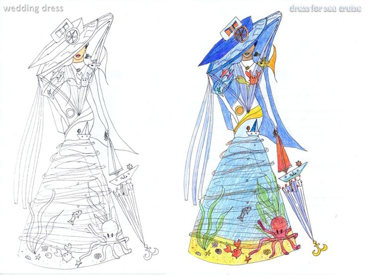 Богиня моря - Goddess of Sea (My sketch)  #fashion #Style #мода #design #designer #дизайнер #стиль #Goddess