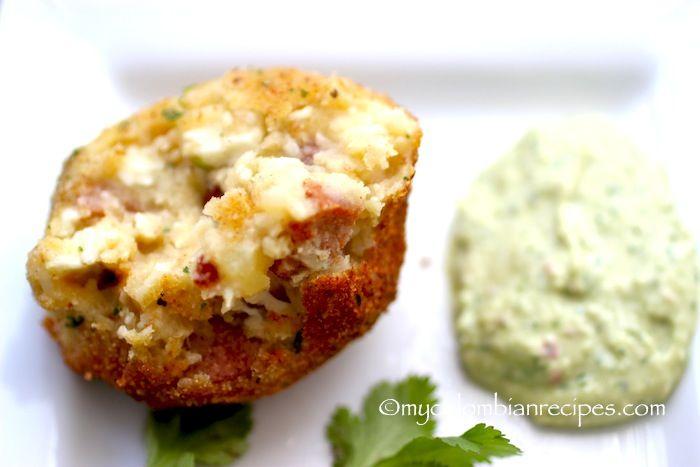 Chorizo, Cheese and Potato Croquettes with Avocado Aioli | My Colombian Recipes