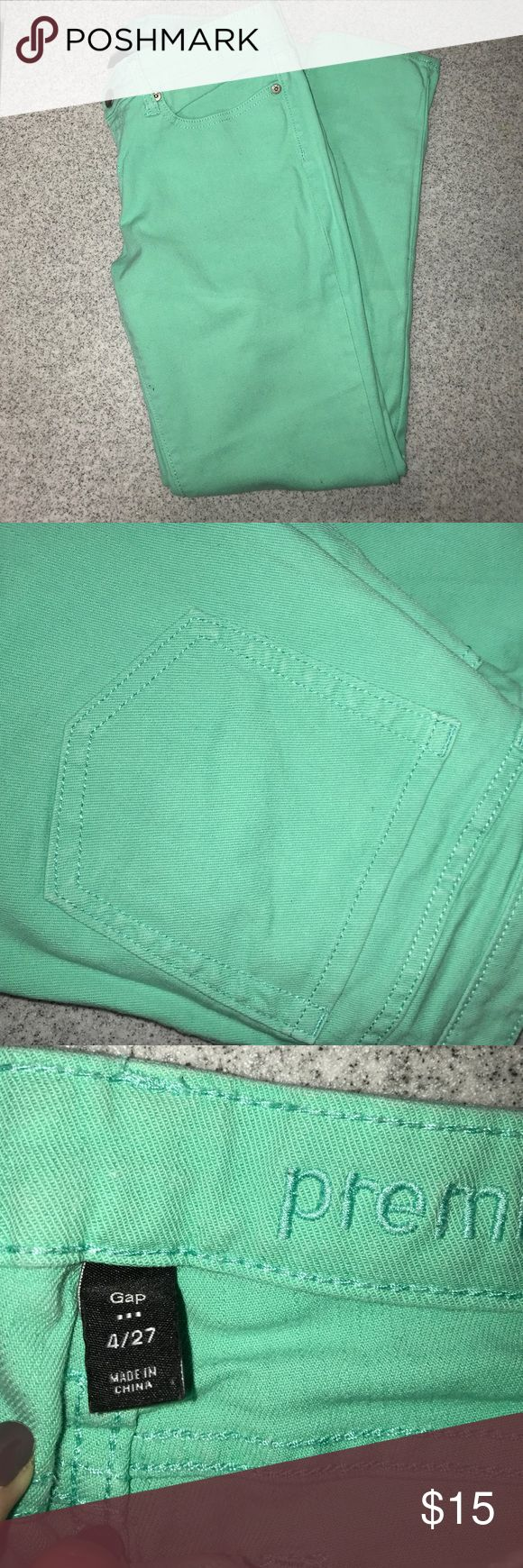 Mint Green Jeans Bright mint green skinny jeans from gap. Easily cuffed at the bottom into capris super cute in the summer time! GAP Jeans Skinny