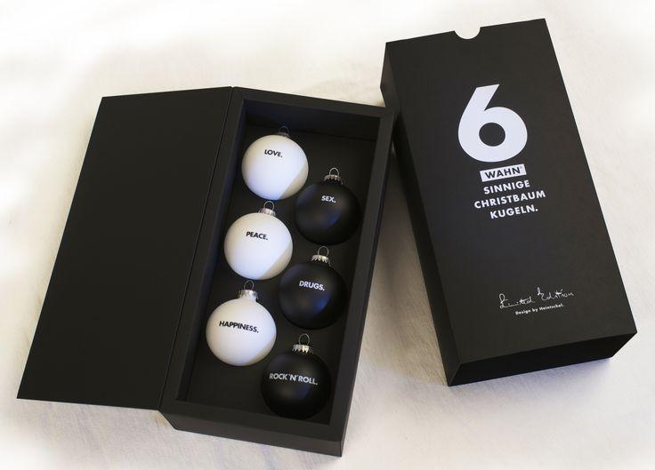 Geschenkpackung mit Christbaumkugeln. Mundgeblasen. 8 cm Durchmesser. Limited Edition.