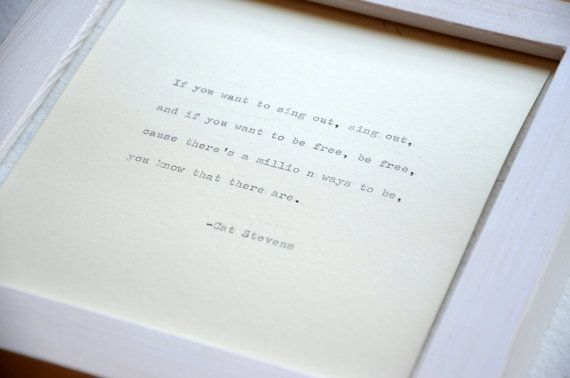 Framed Cat Stevens quote handmade paper by photoplasticon on Etsy