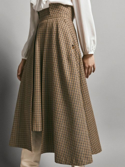 99bc5fc93 LIMITED EDITION WOOL SKIRT WITH ASYMMETRICAL CHECK FRONT - Women - Massimo  Dutti