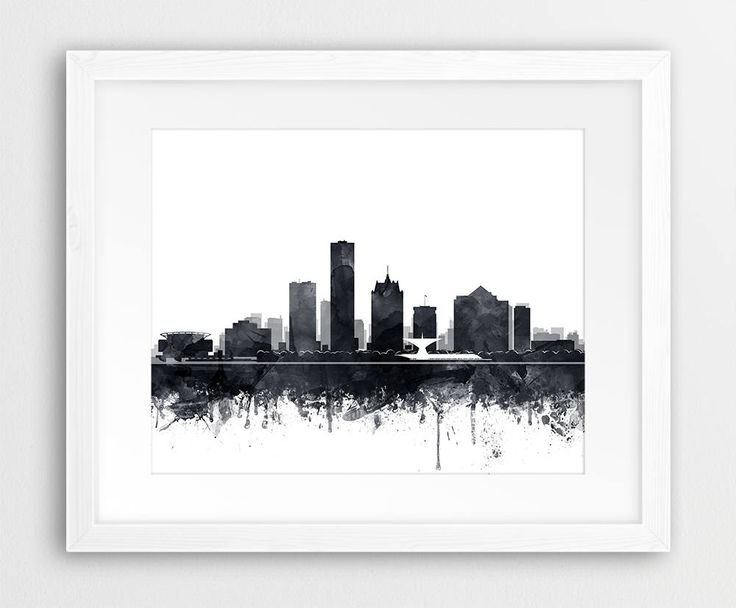 SAVE 30%! - Add 3 or more prints to your cart and enter the coupon code SAVE30  ► INSTANT DOWNLOAD: Milwaukee Skyline Print, Milwaukee City Watercolor Grey Black And White, Milwaukee Wisconsin Cityscape, Modern Wall Art, Travel Poster, Home Office Decor, Printable Art.  Print out this artwork from your home printer or local print shop to decorate your home or office. This file can be printed on size papers from 4x6, 5x7, 8x10, 11x14, 16x20 You can use any paper you like (matte, textured…