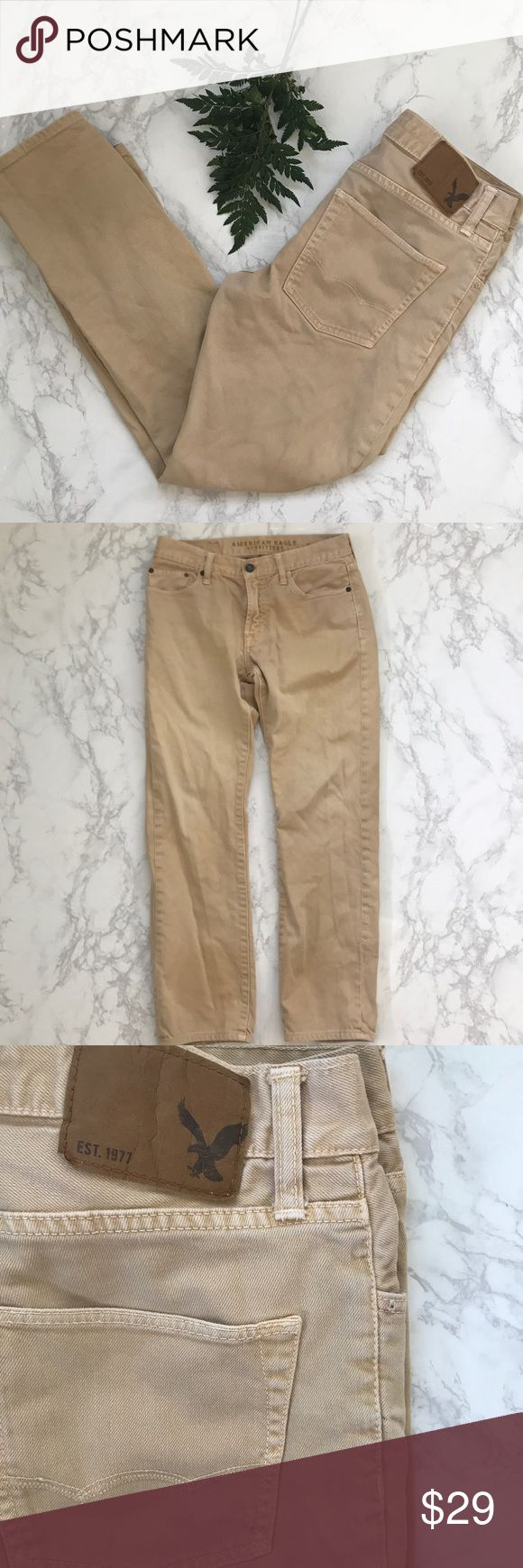 American Eagle Men's slim straight tan jeans 30/30 AE men's tan faded jeans in size 30 / 30 . Great condition ! 99% cotton , 1% spandex.   Tags : khakis , chinos , beige , light tan , work pants , casual , aeo, American eagle outifitters , 30 waist, cream American Eagle Outfitters Jeans Slim Straight