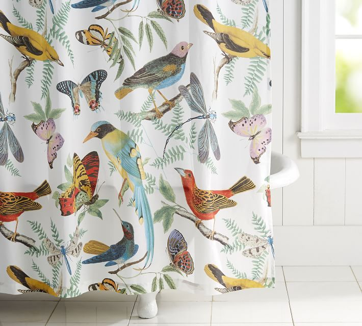 BATHROOM DESIGN TIP Have A White Bath You Cant Paint Add Colorful Shower Curtain To Your Space Like Pottery Barns Fauna Bird Print