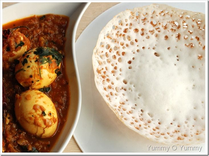 Paalappam and egg curry - Kerala, India  Rice+coconut milk pancakes and egg curry