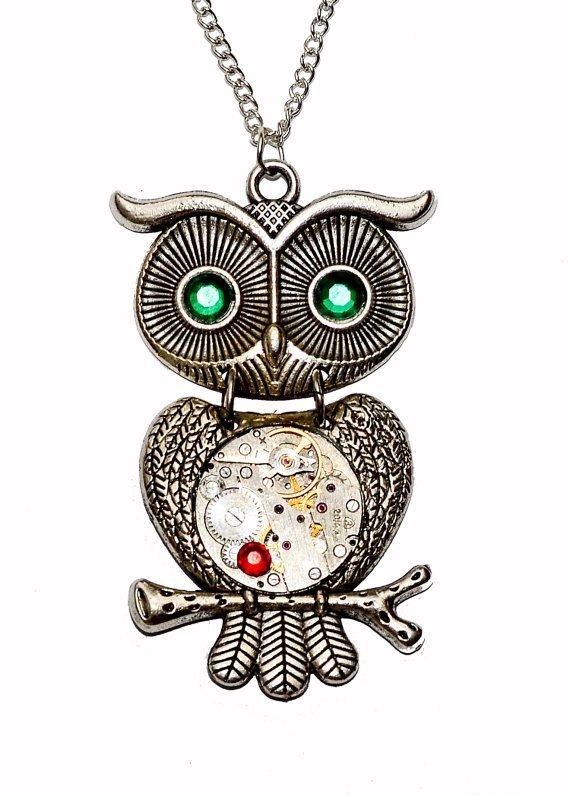 Tibetan Silver Steampunk Owl Pendant Necklace. by thelongwayround