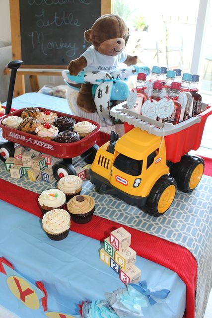 Oh Boy! - Classic Boy Baby Shower - wagon as a cupcake stand.