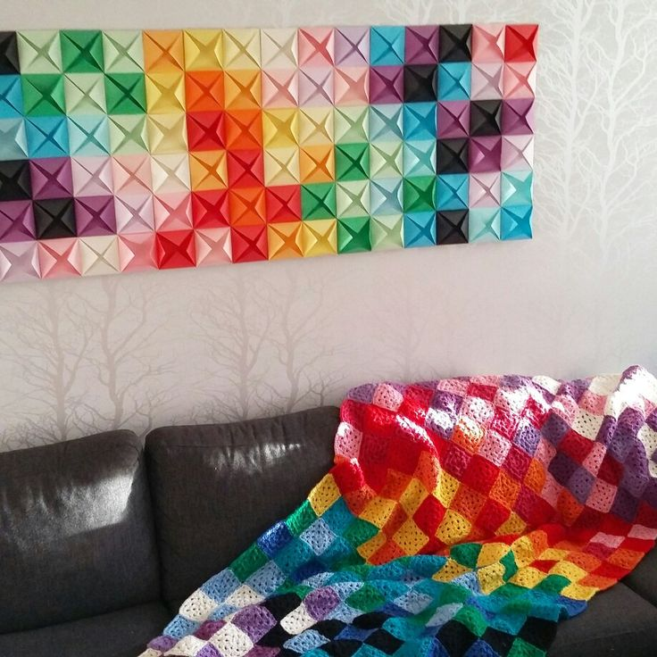 Colorful crochet and origami art
