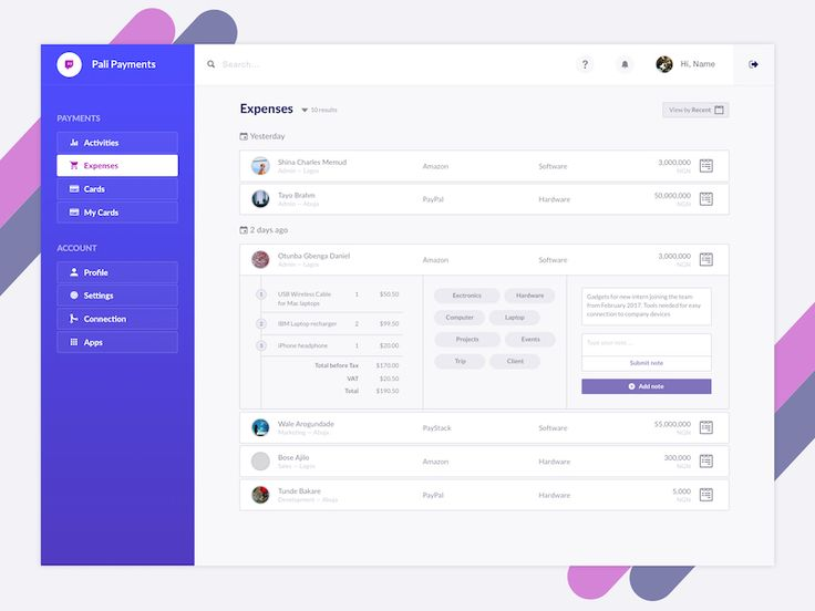 Pali Payment Dashboard Concept