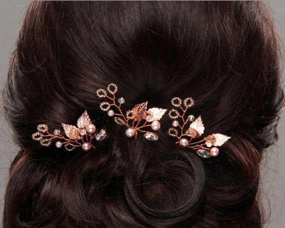 Bridal Hair pins Rose Gold Hair Pins Wedding Hairpins