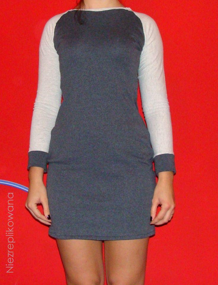 Reglanowa sukienka dresowa,sew a dress