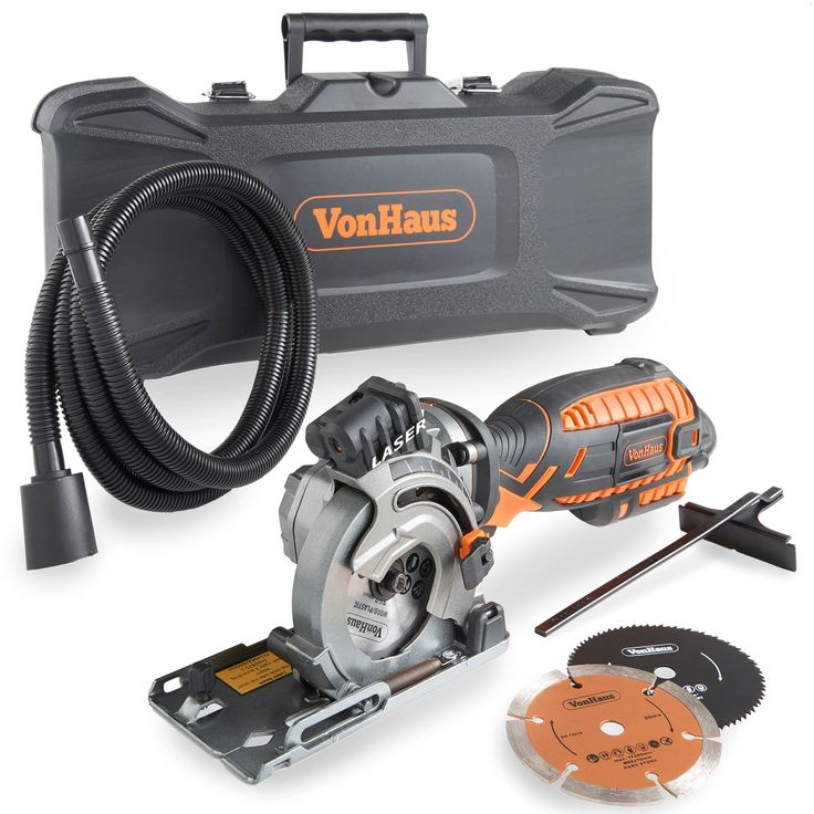 VonHaus Corded Ultra-Compact Circular Saw Kit 5.8 Amp with Laser Indicator, Edge Guide and Plunge Function - 3 Blade Kit with Carry Storage Case Including Extra Long Power Cable and Extraction Hose