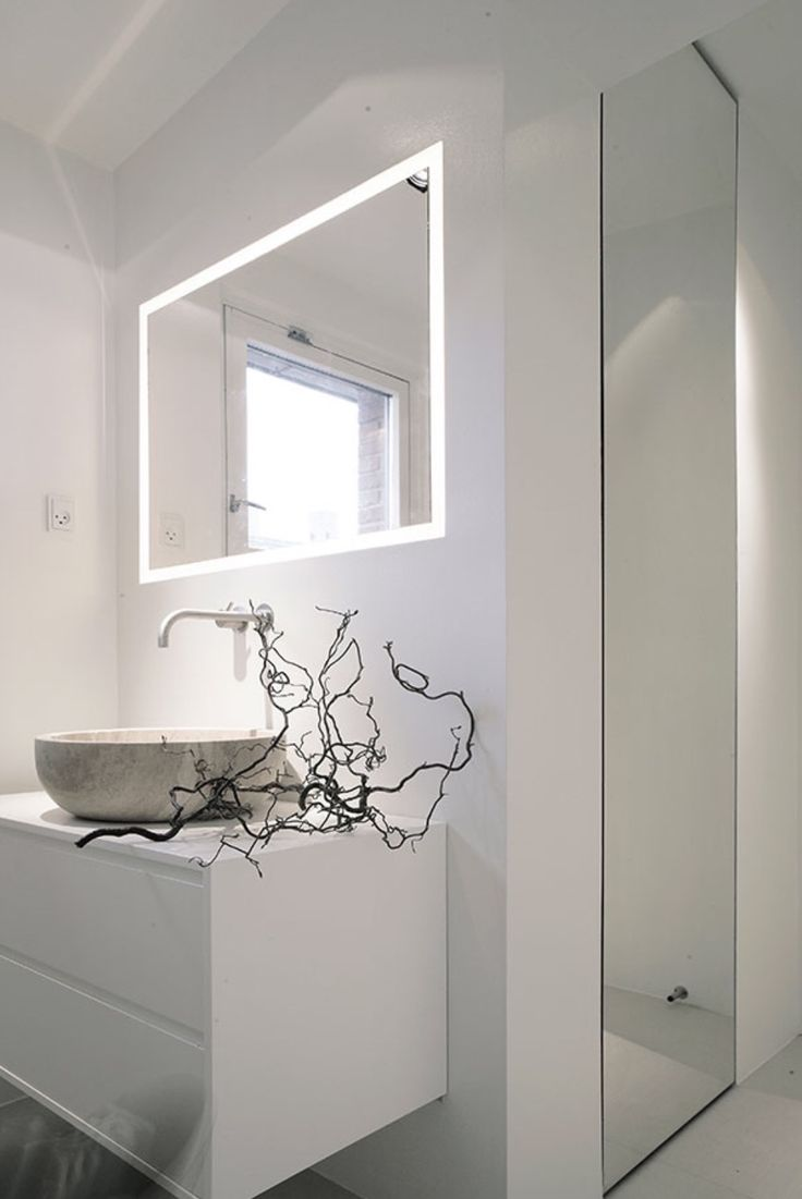 Backlit mirrors for bathrooms u s a together with boffis thirteen to - Modern Bathroom Designs Backlit Mirror And Vessel Sink Ensuite