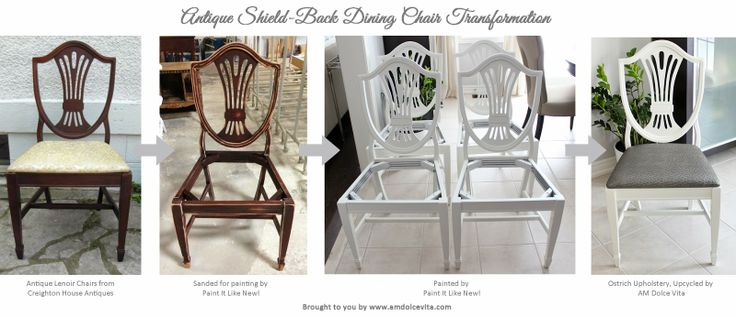 AM Dolce Vita: Antique Shield Back Chair Transformation, Lenoir Antique Shield Back Chair Ostrich Upholstery, Painted Dining Chairs Grey Ostrich Upholstery