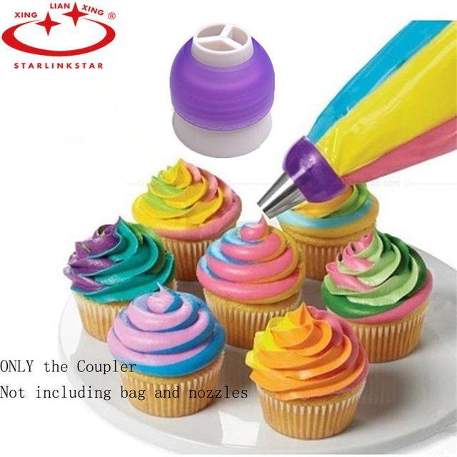1 Stück 3 Loch Zuckerglasur-friedliche Bag Russische Düse Konverter Creme Koppler Für Kuchen Fondant Cookie Kuchen Dekorieren Tools