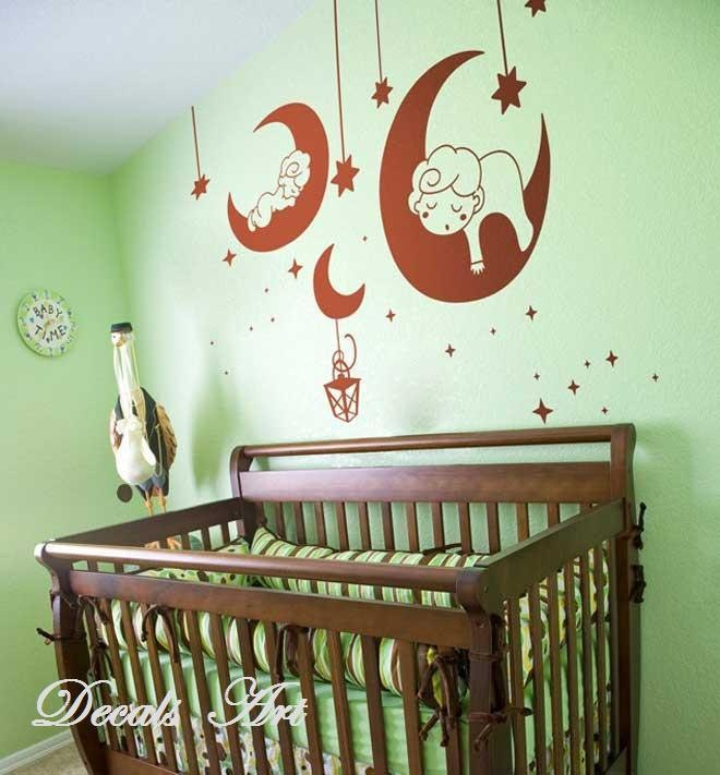 Moon Baby - Vinyl wall sticker- wall decal- tree decals- wall murals art - nursery wall decals- Nursery -Nature. $35.00, via Etsy.