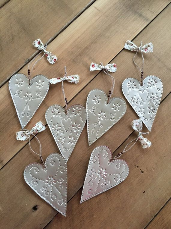 Christmas Ornaments, Punch Tin Heart Ornaments Set of 6, Country Ornaments