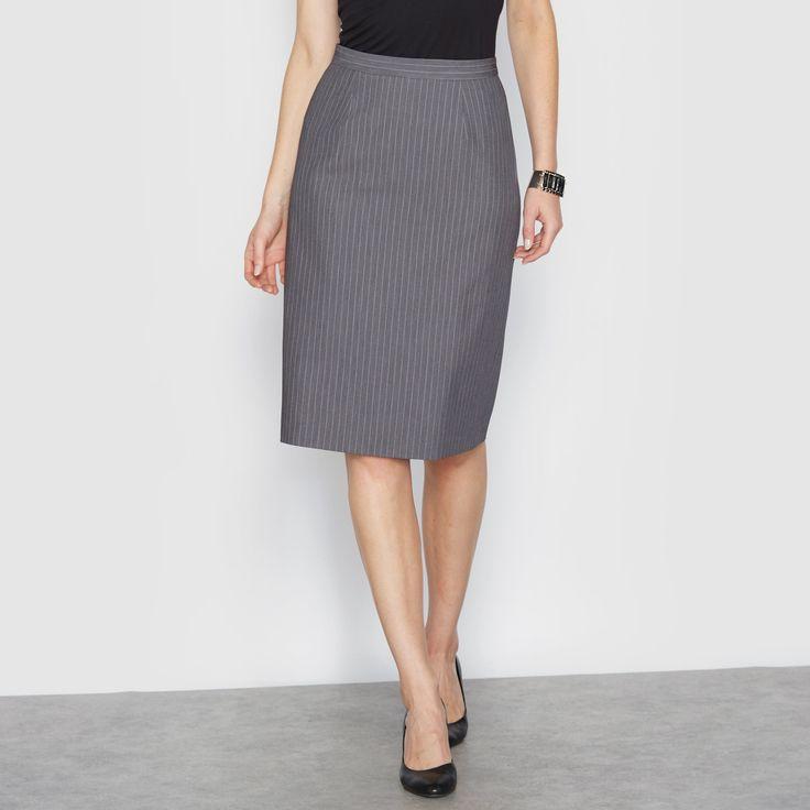 Falda recta a rayas de sarga stretch ANNE WEYBURN: precio, comentarios y…