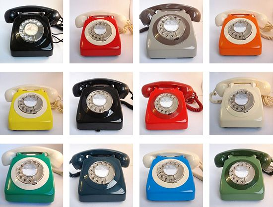 """if you remember your old phones...  """"The telephones featured here are original, unused phones from the British General Post Office (later British Telecom) and date from the 1950s onward. """""""