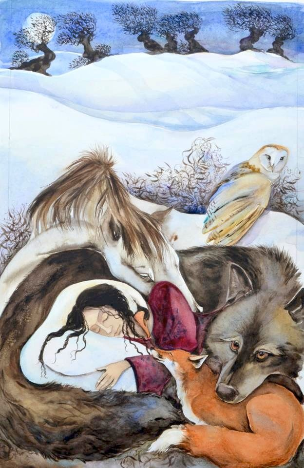 "Illustration by Jackie Morris -- Cover for ""Dreaming My Animal Self"" by Helene Cardona"