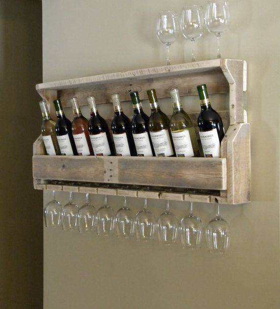 Wine Rack, Reclaimed Pallet Wood, Pallet Wine Rack, Unique Wine Rack, Rustic Decor, Repurposed Pallet, Pallet Wood Furniture, Upcycled Shelf. $80.00, via Etsy.
