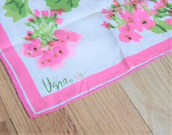 ITEM # RA-38  Vintage VERA Ladybug signature 1960s watercolor floral nylon scarf made in Japan, measuring 42 by 14.  Condition: very good vintage condition with typical wear due to age and handling. Actually, this scarf looks like it were rarely used, if ever. I found no issues with this scarf. It needs pressing, as I am not a linen girl. Camera did not pick up the brightness of the hot pink-fuschia and almost neon-lime green colors.  I have purchased an entire estate, and have many other…