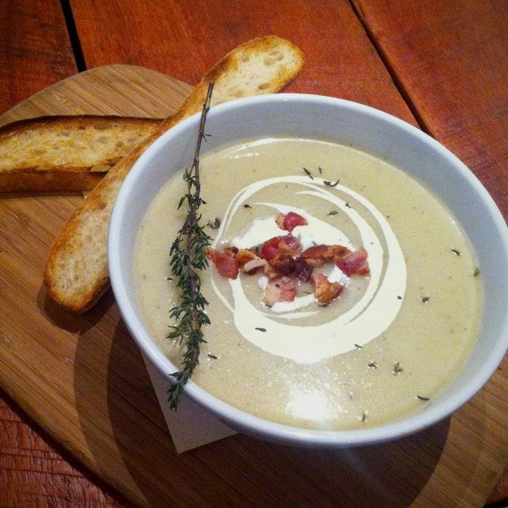 Maiden Gully Parsnip, bacon and thyme soup - ethos cafe in Fitzroy.