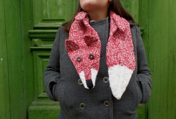 red and white FOX scarf hand knitted warm scarf by giantscanfly