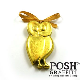 Wooden Owl Gold 9cm on a Ribbon