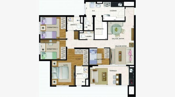 Planta do apto de 106 m² com 4 dorms (1 suite). Apto com lavabo e c/ depósito.
