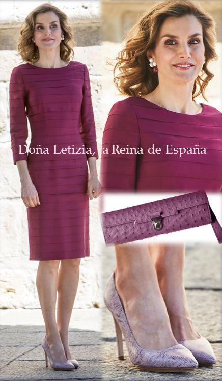 Queen Letizia wore on June 1, a dress of Felipe varela, pocket Mbu Bag, shoes Magrit.