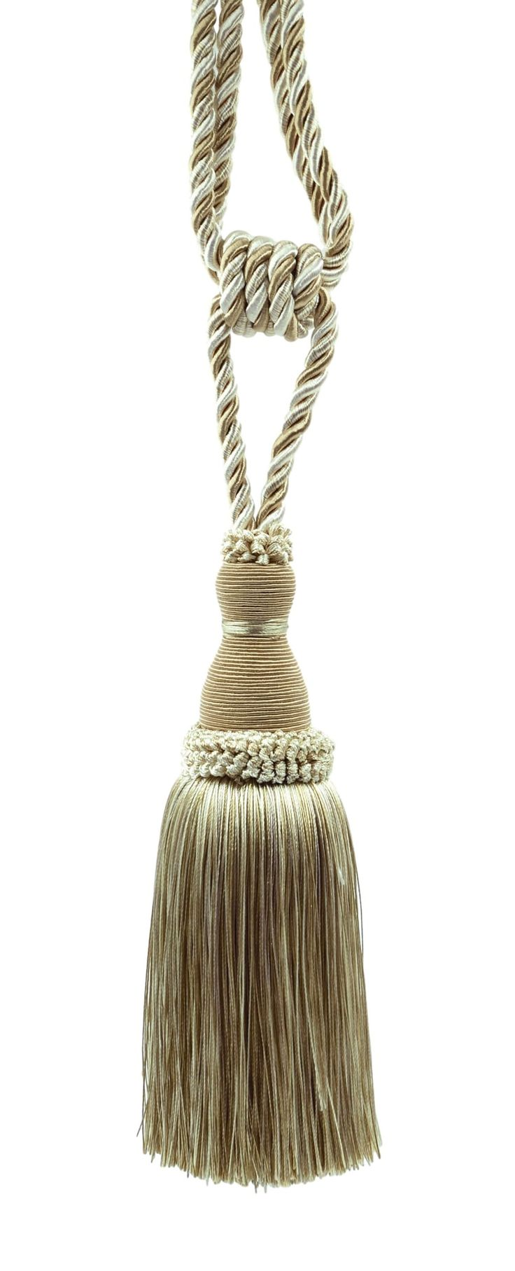 Elegant Ivory, Light Beige Curtain & Drapery Tassel Tieback / 8 Inch tassel, 30 Inch Spread (embrace) Style# TBH8 - White Sands 4001