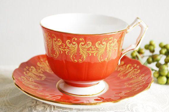 Aynsley Tea Cup and Saucer Burnt Orange Teacup by PinkDahliaStudio