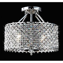 Chrome & Crystal 4 Light Round Ceiling Chandelier (Auction ID: 100627, End